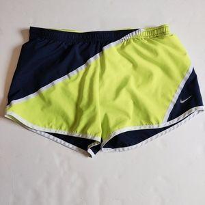 Nike Dri-Fit Navy Blue & Lime Running Shorts S